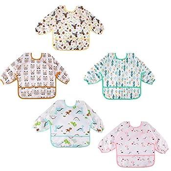 Lictin Baby Bibs with Sleeves 5 Pcs Long Sleeved Waterproof Bibs Baby Smock 0-2 Years