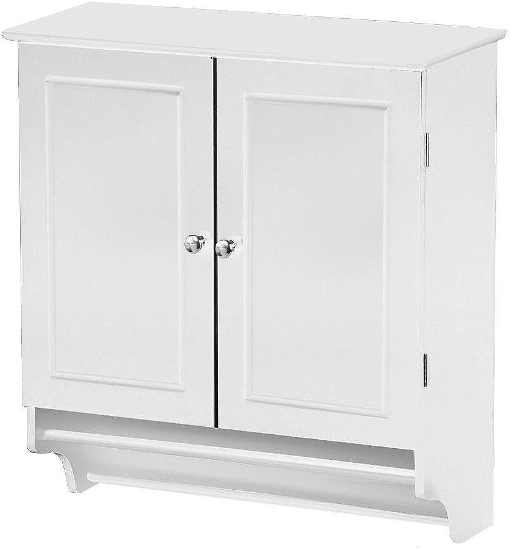 Yaheetech Bathroom Kitchen Wall Mounted Cabinet White Double Door & Hanging Bar Storage Cupboard