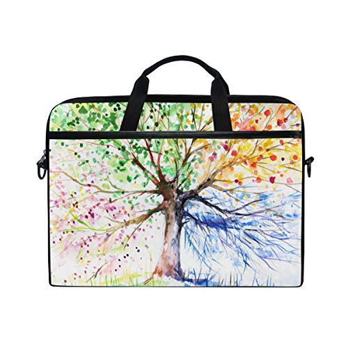 MAHU Laptop Sleeve Case Bag Watercolor Four Season Tree Computer Messenger Bag 14-14.5 inch Travel Briefcase with Shoulder Strap Handle for Women Men Boys Girls
