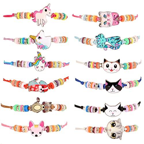LUNEKUCK 12 Pcs Bracelets Amitié Filles Licornes Chiens Chats Bracelet Animal pour Cadeau Anniversaire