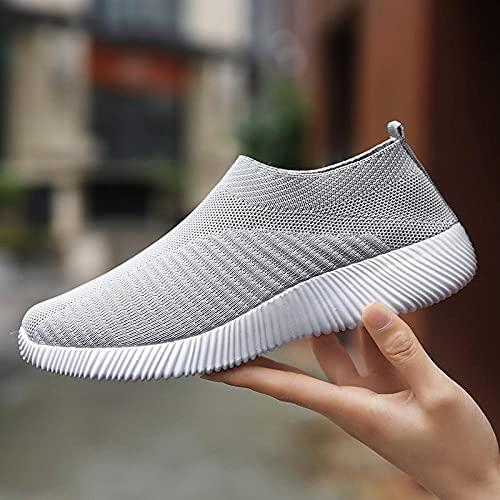 Straßenlaufschuhe,Zapatos de Mujer de Gran tamaño, Zapatos Casuales para Correr, Deportes, Senderismo-Grey_35,Calzado Deportivo para Hombre y Mujer