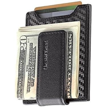 Secure Slim Carbon Fiber Money Clip Wallet RFID EDC Card Holder