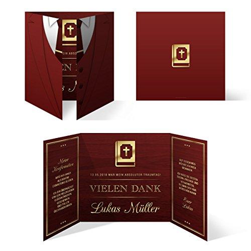 10 x Konfirmation Dankeskarten Danksagungskarten Danksagung Konfirmationskarten - Altarfalz Anzug