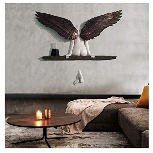 Yuemei Engel Kunst Skulptur Wanddekoration, Hatte Eine Schwester Angel Art Skulptur Wanddekoration, Handgefertigte 3D Statue Engel Wings Für Wohnzimmer Schlafzimmer Dekoration (A)