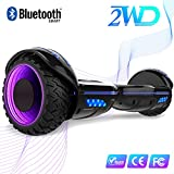 2WD 6.5 '' Hoverboard Scooter elctrico Las Ruedas LED Luces Self Balance Scooter con Bluetooth, Scooter elctrico 6.5'- UL2272 Certificado el monopatn elctrico 2 * 350W (E9-Negro)