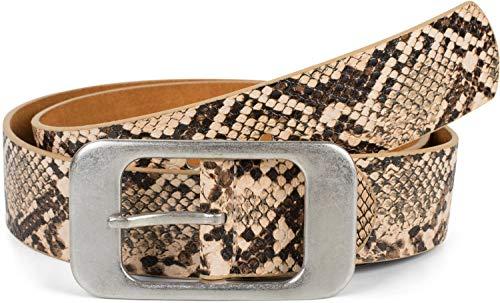 styleBREAKER cinturón de mujer en óptica de piel de serpiente con una gran hebilla rectangular, acortable 03010101, tamaño:85cm, color:Beige-Marrón