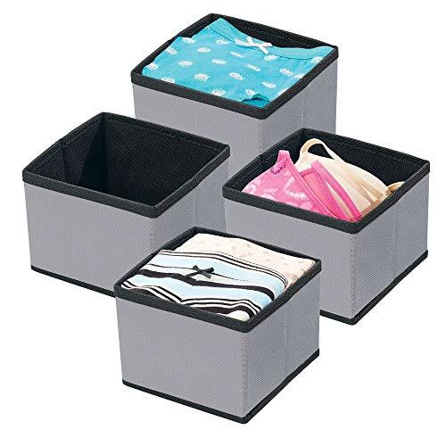 mDesign förvaringslådor – tyglådor för garderobsinredning – förvaringslådor i tyg för garderoben – 4-pack – mörkgrå/svart