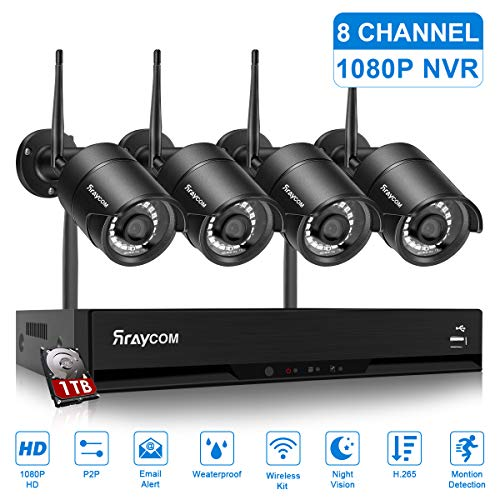 Rraycom 8CH Wireless Security Surveillance System H.265 1080P NVR with 1TB Hard Drive and (4) x1080P HD Wireless IP Cameras System,IP67 Waterproof,115ft Night Vision,App Remote View, P2P,Plug Play