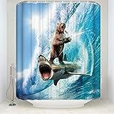 Dimmo Stilvoller Individuellkeit Hai Muster Duschvorhang verrückter H& Bär Duschvorhang Wasserdicht Badezimmer Dekorativer Partition Vorhang mit 12 Haken 71 x 71 Zoll