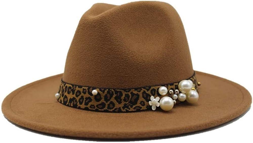 Voypa Winter Wool Fedoras for Women Wide Brim Felt Hat