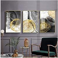 ウォールアート写真ブラックインク年次リングアートキャンバス壁画ポスタープリントミニマリスト装飾抽象写真3個20x30cmフレームなし