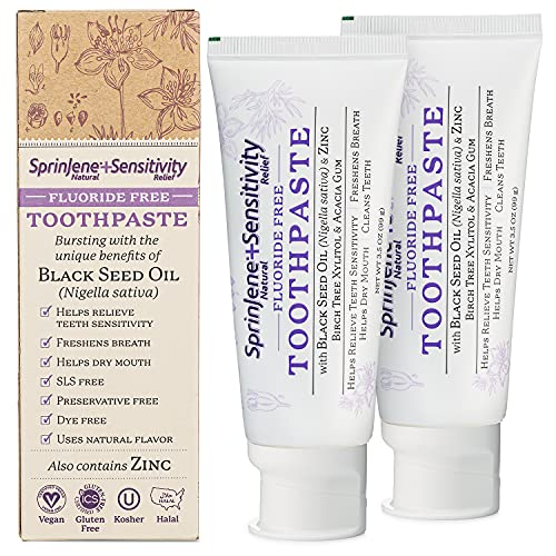 SprinJene Natural Fluoride Free Toothpaste for Sensitivity Relief of Teeth and Gums, Fresh Breath, and Helps Dry Mouth - Vegan, Dye-Free, Preservative-Free, and SLS Free Toothpaste - 2-Pack 3.5 oz