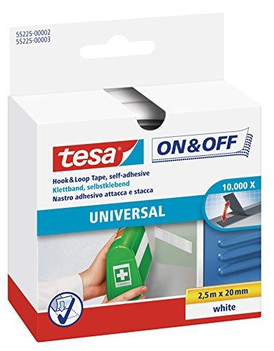 tesa On & Off Klettband zum Aufkleben - Selbstklebendes Klettklebeband zur Befestigung leichter Gegenstände - Weiß, 2 cm x 250 cm