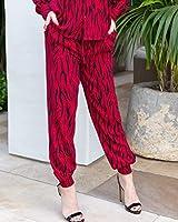 The Drop Pantalón Jogger para Mujer, con Puños Elásticos, Estampado de Cebra Rojo Rio y Negro, por @haneyofficial, S