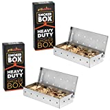 Grillaholics Smoker Box - Set of 2 Stainless Steel Wood Chip Smoker Boxes - Heavy Duty Stainless Steel Won't Warp - Add Smokey BBQ Flavor on Gas Grill or Charcoal Grills