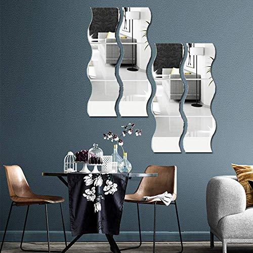 12 piezas de adhesivos de pared con espejo ondulado, espejo 3D, bricolaje, decoración del hogar, espejo acrílico, lámina de pared, azulejos de espejo de plástico para el hogar, sala de estar, recámara