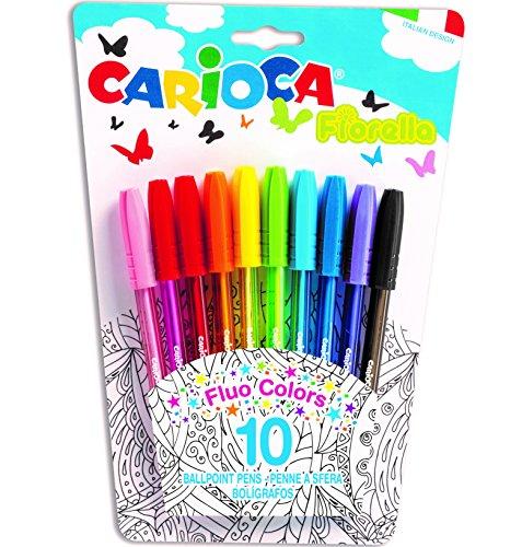 Carioca Fiorella - Blíster de 10 bolígrafos de colores, Multicolor