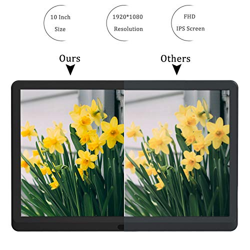 Digital Photo Frame with 32GB SD Card 10 Inch Kenuo 1920x1080 High Resolution 16:9 Full IPS Display Digital Picture Frame Auto-Rotate Image Preview Video Calendar Clock Auto On/Off Timer (Black)