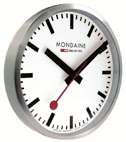 Mondaine Moderne Wanduhr mit Quartzwerk, batteriebetrieben Wall Clock 25cm- A990.Clock.16SBB