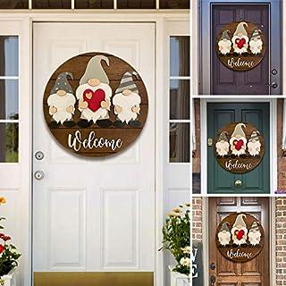 Gnome Door Hanger - Welcome Sign Front Door Hanger, Interchangeable All Seasons Welcome Sign Decorations, Wooden Door Deco...