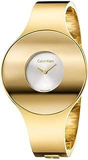 Calvin Klein Seamless Silver Dial Ladies Medium Gold-Tone Bangle Watch K8C2M516