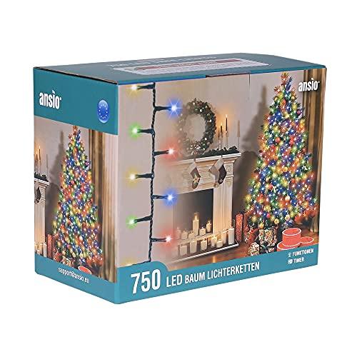 ANSIO® Luci Natale Esterno 18.75m 750 LED Luci Albero di Natale Natalizie Luminose Colorate Luci Natalizie da Esterno/Interno Ideale per Mantello, Balcone Lucine Luminoso