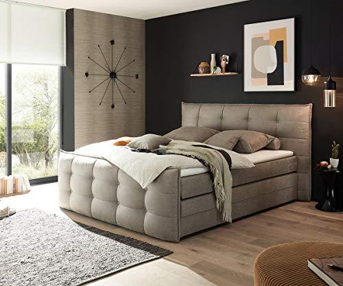 DELIFE Bett Venla Vintage Grau 180x200 cm mit Matratze und Topper