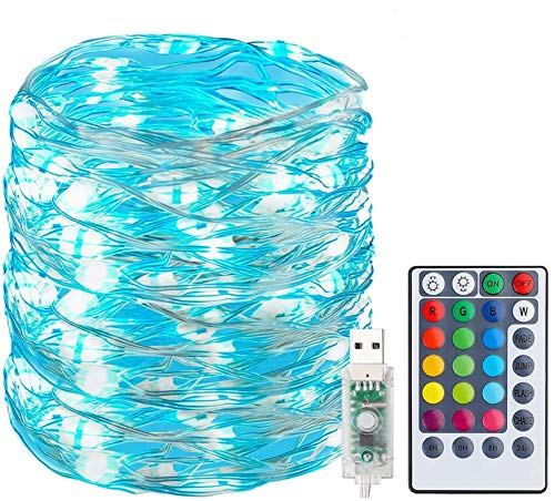 Fairy Lights 100LEDs 33Ft, USB Plug in 16 Multi-Color Changing RGB String Lights, 4 Modes Dimmable with Remote Control, Waterproof Copper Wire Rope Lights for Bedroom Party Christmas Decor, Uhomely