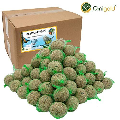 Ornigold Premium Insektenknödel mit Netz 100 Stück delikate Meisenknödel mit getrockneten Insekten ALS Ganzjahresfutter für Wildvögel - Das ideale Wild-vogelfutter im Sommer und Winter