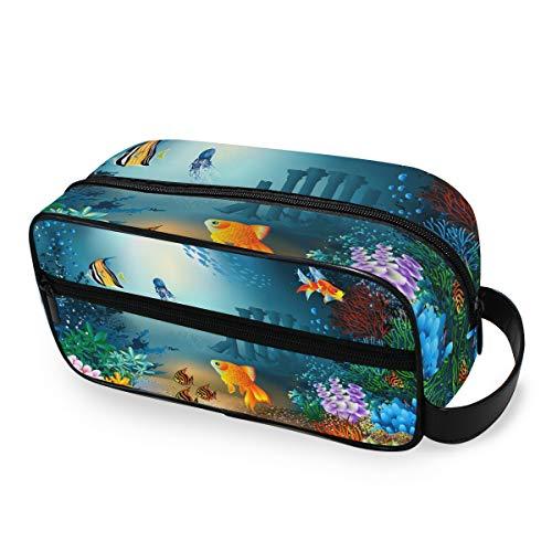 Mignon bleu océan mer vie bourse stockage sac de maquillage trousse de toilette voyage portable outils cosmétique train cas