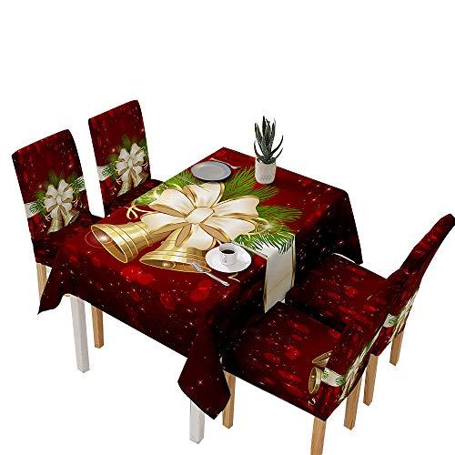 YOUNGE Weihnachtstisch und Stuhlhussen Santa Claus Glocken Muster für Küche Esszimmer Tischdecke Dekorationen Christmas Table and Chair Covers Santa Claus Bells Pattern Tablecloth Decorations