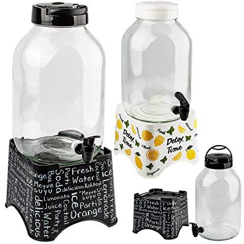 alles-meine.de GmbH 2 Stück _ je 5 Liter - großer Getränkespender - Glas - mit Zapfhahn & Deckel + abnehmbaren Ständer / Saftkanne / Zapfhahnflasche - 5l Wasserspender Wasserkani..