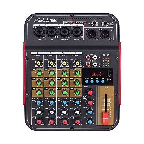 Muslady Mezclador de Audio Digital de 4 Canales Consola de Mezcla Alimentación Phantom Incorporada de 48 V con Función BT Sistema de Audio Profesional para Grabación de Estudio Emisión DJ Live