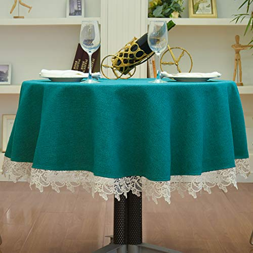 Small Round Tablecloth Lace Dust-Proof Table Cover 48inch 56inch Table Clothes Wedding Coffee End Table Tabletop Decoration