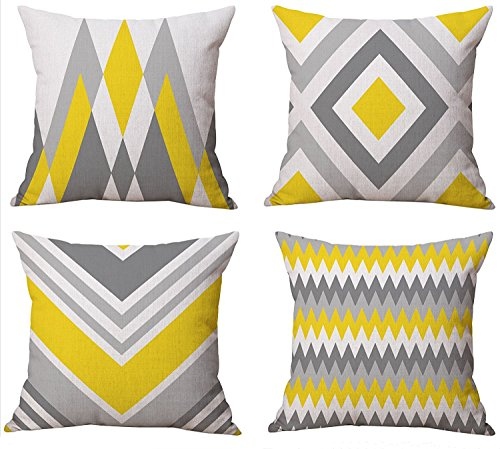 TIDWIACE Yellow Cushion Cover Cotton and linen Throw Pillow Case Cushion Cover Home for Sofa Chair Couch/Bedroom Decorative Pillowcase 18x18Inch 45x45cm 4 Piece Set