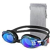 ZOR, occhialini da nuoto G8, comodi, anti-nebbia, professionali, per uomini, donne, adulti, ragazzi e bambini dagli 8 anni in su, protezione UV, specchio/lente trasparente, cinghia regolabile