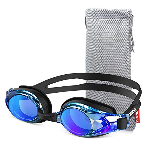 ZIONOR Swim Goggles, Upgrade G8 Swimming Goggles for Adult Men Women Youth, UV Protection Anti-Fog Leakproof (Black Frame Blue Lens)