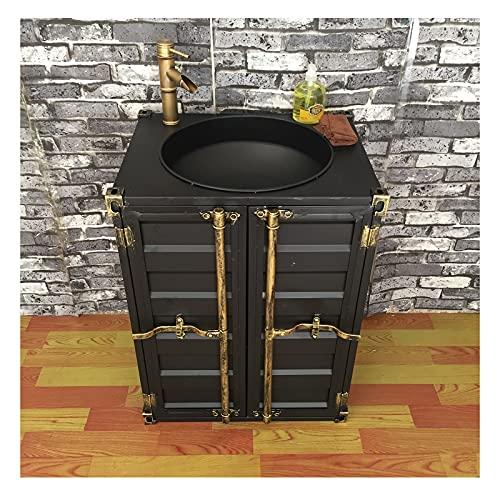 Mueble de baño de 50 x 60 x 80 cm, mueble de baño con pedestal, gabinete de almacenamiento de estilo industrial, diseño retro de creatividad con grifo y desagüe (color: mueble de lavabo)