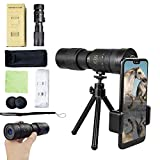 4K 10-300X40mm Super Telephoto Zoom Monocular Telescope,Waterproof Fogproof Night Vision Monocular with Smartphone Holder and Tripod,BAK4 Prism for Wildlife Bird Watching Camping Travelling Secenery