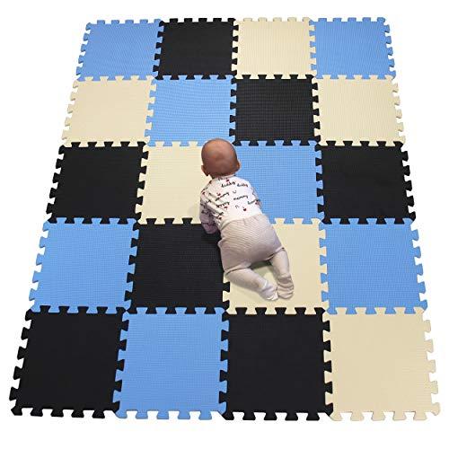 YIMINYUER Baby Spielmatte, Kinder eco schadstofffrei Krabbelmatte Extra dick Baby Schaumstoffmatte Nicht giftig Kinderteppich Schwarz Blau Beige R04R07R10G301020