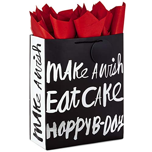 Hallmark 15' Extra Large Gift Bag with Tissue Paper for Birthdays (Happy B-Day, Black and Silver)