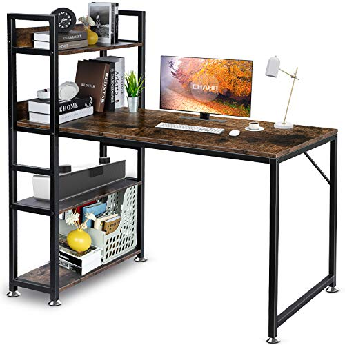 CHAHO Computer Desk with Shelves 47 Inch,Study Writing Table with Storage Bookshelf,Gaming Desk, Office Corner Desk for Small Spaces, Home Office Desk with Bookshelf Easy Assemble (Retro)