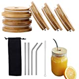 6 Sets Bamboo Mason Jar Lids with Straw Hole, Reusable Bamboo Jar Lids, with 4 Pieces Stainless Steel Straw, Cleaning Brush and Bag for Drinking