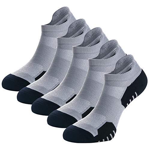 Weekend Peninsula 5 Pares Calcetines Running Deportivos Hombres Mujer, Calcetines Cortos Tobilleros Hombre Mujer Invisibles Bajos Antiampollas (EU 43-46, Gris - 5 Pares)