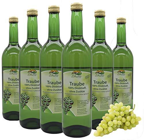 Bleichhof Traubensaft (weiß) - 100% Direktsaft, naturrein und vegan, OHNE Zuckerzusat, 6er Pack (6x 0,72l)