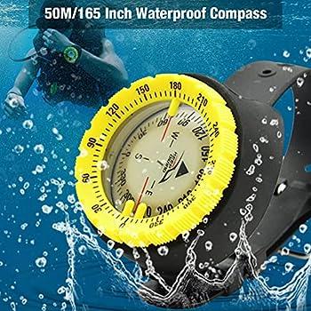 colorwind Boussole de plongée, Boussole de plongée sous-Marine, Cadran Lumineux Absorbant la lumière, plongée à Une Profondeur de 50 mètres