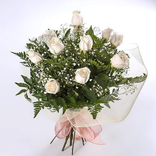 REGALAUNAFLOR-Ramo de 12 rosas blancas naturales-FLORES FRESCAS-ENTREGA EN 24 HORAS DE MARTES A SABADO.-FLORES NATURALES