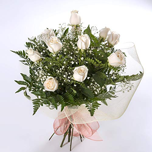 REGALAUNAFLOR-Ramo de 12 rosas blancas naturales-FLORES FRESCAS-ENTREGA EN 24 HORAS DE LUNES A SABADO.