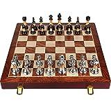 QIU Checkers Professional International Chess Plegable Portátil Ajedrezamiento de Ajedrez Ajuste Juegos Juegos Metal Ajedrez Set para la Competencia