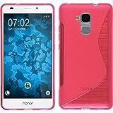 PhoneNatic Case kompatibel mit Huawei Honor 5C - pink Silikon Hülle S-Style + 2 Schutzfolien